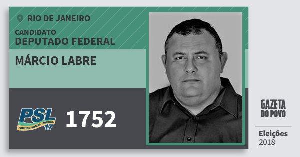 Santinho Márcio Labre 1752 (PSL) Deputado Federal | Rio de Janeiro | Eleições 2018