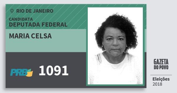 Santinho Maria Celsa 1091 (PRB) Deputada Federal | Rio de Janeiro | Eleições 2018