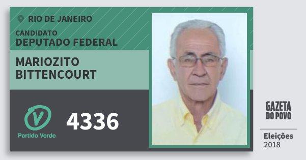 Santinho Mariozito Bittencourt 4336 (PV) Deputado Federal | Rio de Janeiro | Eleições 2018