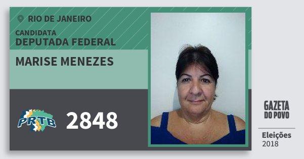 Santinho Marise Menezes 2848 (PRTB) Deputada Federal | Rio de Janeiro | Eleições 2018