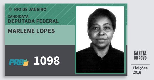 Santinho Marlene Lopes 1098 (PRB) Deputada Federal | Rio de Janeiro | Eleições 2018