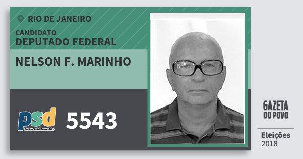 Santinho Nelson F. Marinho 5543 (PSD) Deputado Federal | Rio de Janeiro | Eleições 2018