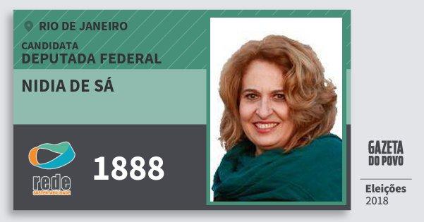 Santinho Nidia de Sá 1888 (REDE) Deputada Federal | Rio de Janeiro | Eleições 2018