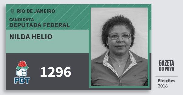 Santinho Nilda Helio 1296 (PDT) Deputada Federal | Rio de Janeiro | Eleições 2018