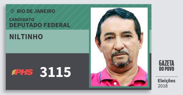 Santinho Niltinho 3115 (PHS) Deputado Federal | Rio de Janeiro | Eleições 2018