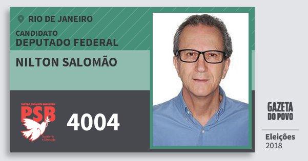 Santinho Nilton Salomão 4004 (PSB) Deputado Federal | Rio de Janeiro | Eleições 2018