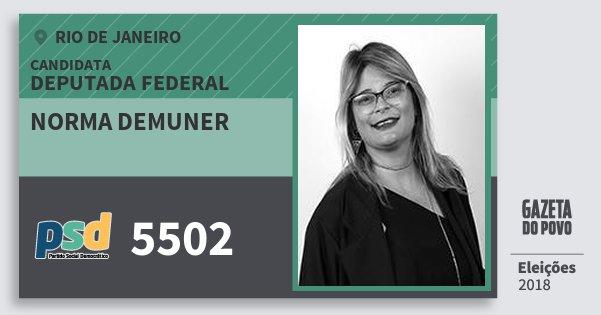 Santinho Norma Demuner 5502 (PSD) Deputada Federal | Rio de Janeiro | Eleições 2018