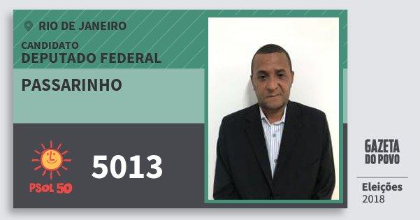 Santinho Passarinho 5013 (PSOL) Deputado Federal | Rio de Janeiro | Eleições 2018