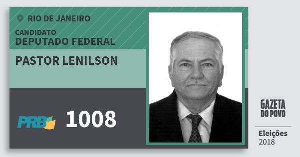 Santinho Pastor Lenilson 1008 (PRB) Deputado Federal | Rio de Janeiro | Eleições 2018