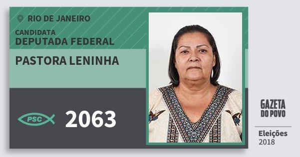 Santinho Pastora Leninha 2063 (PSC) Deputada Federal | Rio de Janeiro | Eleições 2018