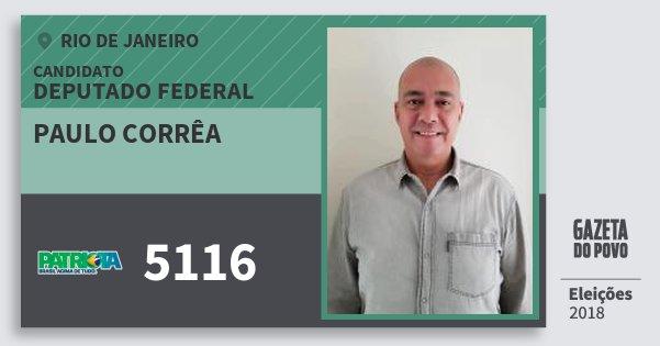 Santinho Paulo Corrêa 5116 (PATRI) Deputado Federal | Rio de Janeiro | Eleições 2018