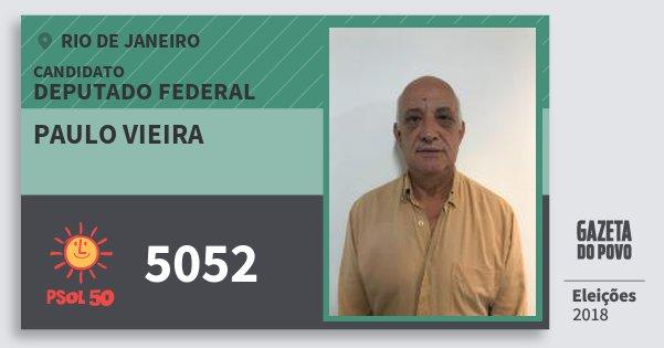 Santinho Paulo Vieira 5052 (PSOL) Deputado Federal | Rio de Janeiro | Eleições 2018