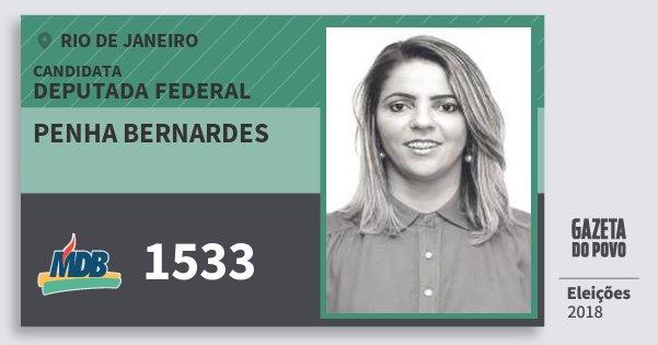Santinho Penha Bernardes 1533 (MDB) Deputada Federal | Rio de Janeiro | Eleições 2018