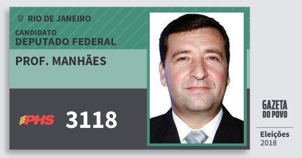 Santinho Prof. Manhães 3118 (PHS) Deputado Federal | Rio de Janeiro | Eleições 2018