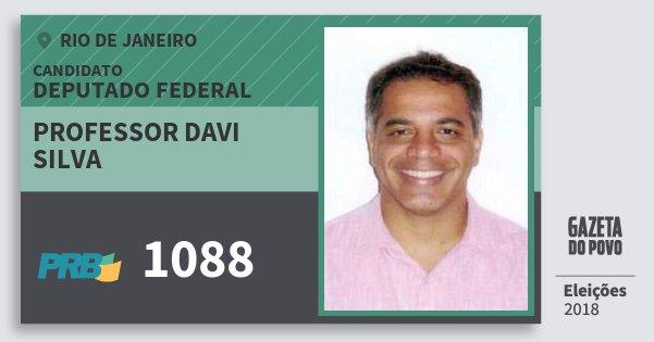 Santinho Professor Davi Silva 1088 (PRB) Deputado Federal | Rio de Janeiro | Eleições 2018