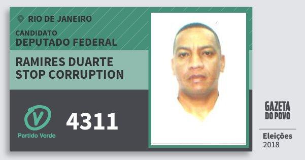 Santinho Ramires Duarte Stop Corruption 4311 (PV) Deputado Federal | Rio de Janeiro | Eleições 2018