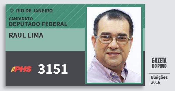Santinho Raul Lima 3151 (PHS) Deputado Federal | Rio de Janeiro | Eleições 2018