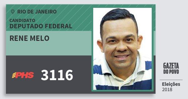 Santinho Rene Melo 3116 (PHS) Deputado Federal | Rio de Janeiro | Eleições 2018