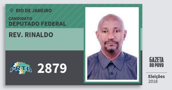 Santinho Rev. Rinaldo 2879 (PRTB) Deputado Federal | Rio de Janeiro | Eleições 2018