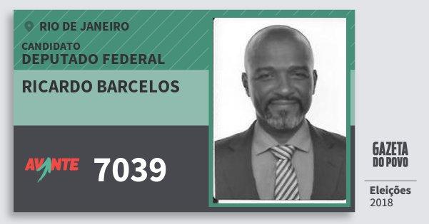 Santinho Ricardo Barcelos 7039 (AVANTE) Deputado Federal | Rio de Janeiro | Eleições 2018