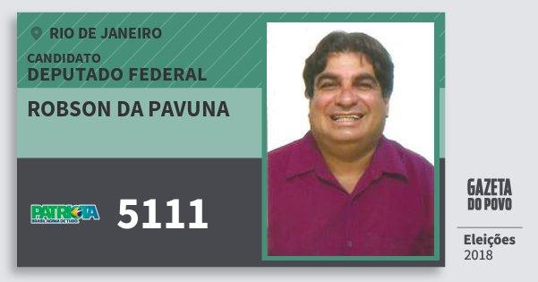 Santinho Robson da Pavuna 5111 (PATRI) Deputado Federal | Rio de Janeiro | Eleições 2018