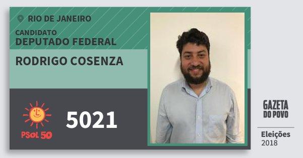 Santinho Rodrigo Cosenza 5021 (PSOL) Deputado Federal | Rio de Janeiro | Eleições 2018