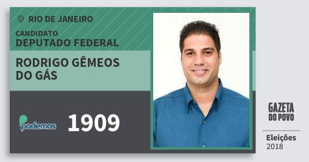 Santinho Rodrigo Gêmeos do Gás 1909 (PODE) Deputado Federal | Rio de Janeiro | Eleições 2018