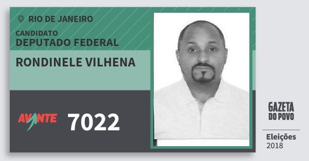 Santinho Rondinele Vilhena 7022 (AVANTE) Deputado Federal   Rio de Janeiro   Eleições 2018