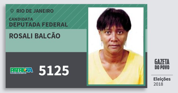 Santinho Rosali Balcão 5125 (PATRI) Deputada Federal | Rio de Janeiro | Eleições 2018