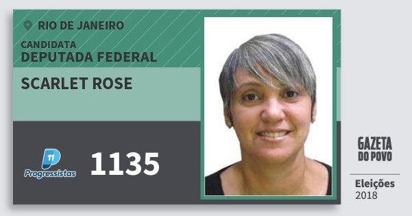 Santinho Scarlet Rose 1135 (PP) Deputada Federal | Rio de Janeiro | Eleições 2018