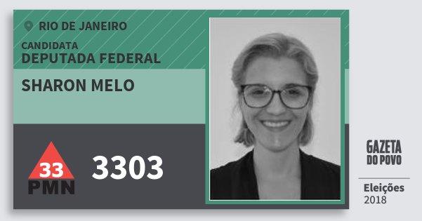 Santinho Sharon Melo 3303 (PMN) Deputada Federal | Rio de Janeiro | Eleições 2018