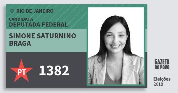 Santinho Simone Saturnino Braga 1382 (PT) Deputada Federal | Rio de Janeiro | Eleições 2018