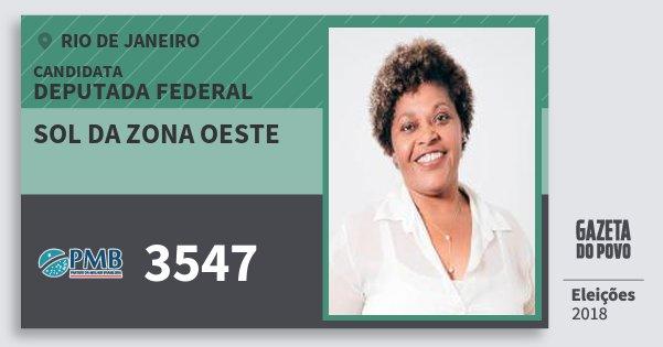 Santinho Sol da Zona Oeste 3547 (PMB) Deputada Federal | Rio de Janeiro | Eleições 2018