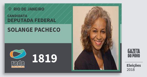 Santinho Solange Pacheco 1819 (REDE) Deputada Federal | Rio de Janeiro | Eleições 2018