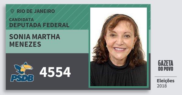 Santinho Sonia Martha Menezes 4554 (PSDB) Deputada Federal | Rio de Janeiro | Eleições 2018