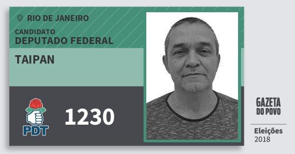 Santinho Taipan 1230 (PDT) Deputado Federal | Rio de Janeiro | Eleições 2018
