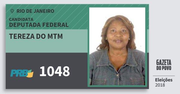 Santinho Tereza do Mtm 1048 (PRB) Deputada Federal | Rio de Janeiro | Eleições 2018