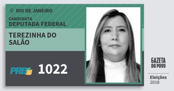 Santinho Terezinha do Salão 1022 (PRB) Deputada Federal   Rio de Janeiro   Eleições 2018