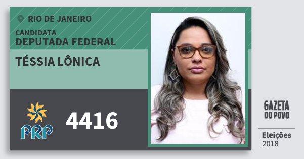 Santinho Téssia Lônica 4416 (PRP) Deputada Federal | Rio de Janeiro | Eleições 2018