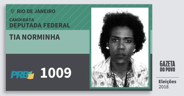 Santinho Tia Norminha 1009 (PRB) Deputada Federal | Rio de Janeiro | Eleições 2018