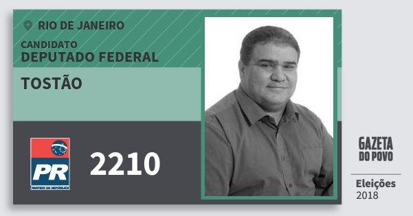 Santinho Tostão 2210 (PR) Deputado Federal | Rio de Janeiro | Eleições 2018