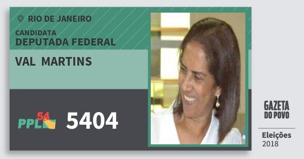 Santinho Val  Martins 5404 (PPL) Deputada Federal   Rio de Janeiro   Eleições 2018