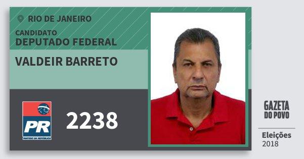 Santinho Valdeir Barreto 2238 (PR) Deputado Federal   Rio de Janeiro   Eleições 2018