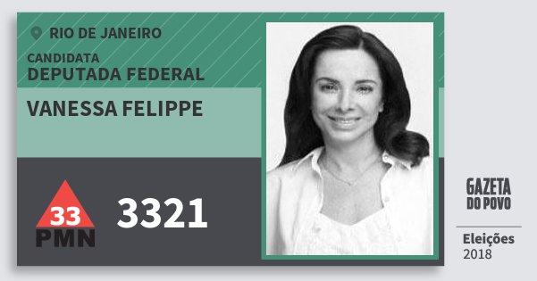 Santinho Vanessa Felippe 3321 (PMN) Deputada Federal | Rio de Janeiro | Eleições 2018