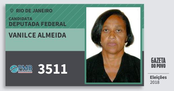 Santinho Vanilce Almeida 3511 (PMB) Deputada Federal | Rio de Janeiro | Eleições 2018