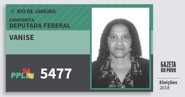 Santinho Vanise 5477 (PPL) Deputada Federal | Rio de Janeiro | Eleições 2018