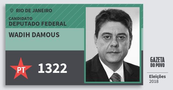 Santinho Wadih Damous 1322 (PT) Deputado Federal | Rio de Janeiro | Eleições 2018