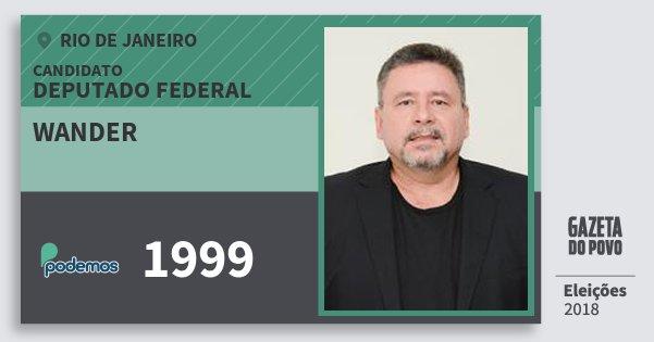 Santinho Wander 1999 (PODE) Deputado Federal | Rio de Janeiro | Eleições 2018