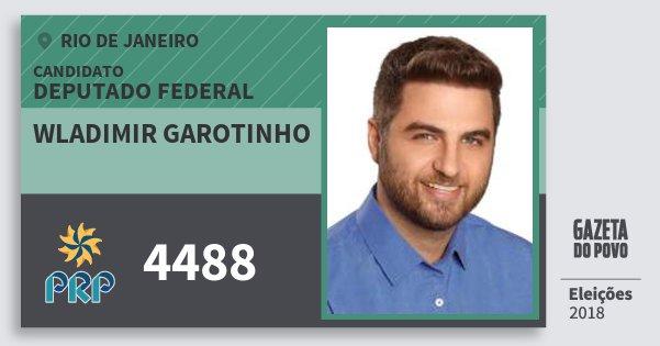 Santinho Wladimir Garotinho 4488 (PRP) Deputado Federal | Rio de Janeiro | Eleições 2018