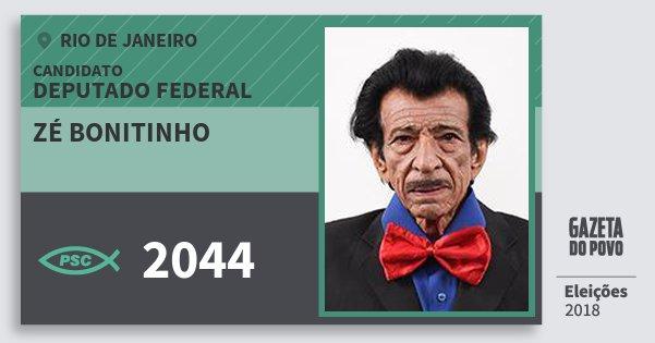 Santinho Zé Bonitinho 2044 (PSC) Deputado Federal | Rio de Janeiro | Eleições 2018